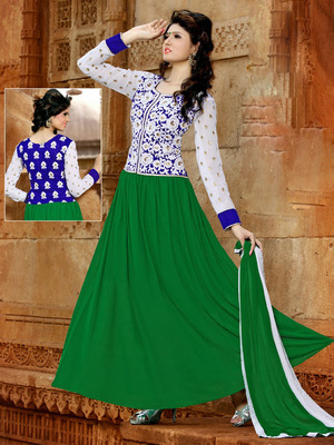Designer Green Embroidery Work Anarkali Suit