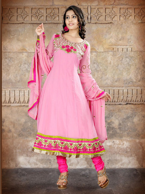 Light Pink Long Anarkali Suit