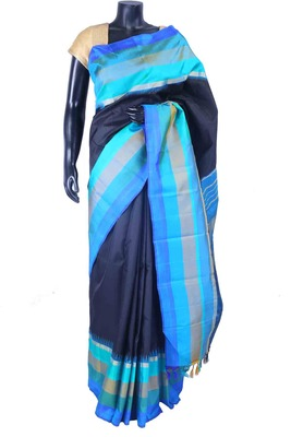 Navy blue pure silk saree in sky blue weaved pallu & navy blue blouse-SR5522