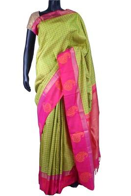 Green pure silk weave saree in pink zari weaved pallu & pink blouse-SR5527