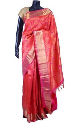 Peach pure silk zari weaved saree in pink & gold saree border-SR5528