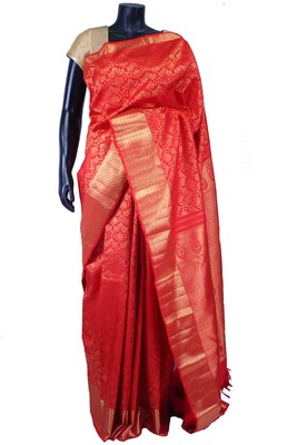 Red pure silk zari weaved saree in golden border & red blouse-SR5529