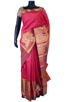 Rani pink pure silk zari weaved saree in multi colour border-SR5536
