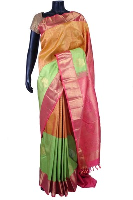 Multi colour pure silk zari weaved saree in pink pallu & pink blouse-SR5537