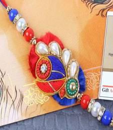 Buy Pearl Beads Zardosi Rakhi zardosi-rakhi online