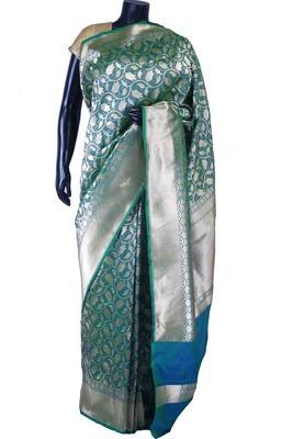 Peacock blue pure silk zari weaved saree in silver border & pallu-SR5558