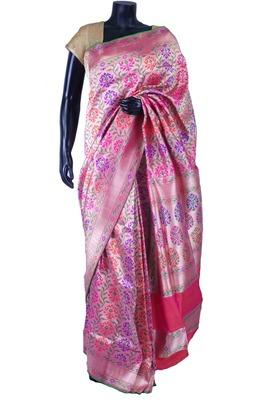 Pink pure silk zari weaved saree in pink border & pallu-SR5561