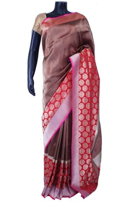 Multi colour pure silk zari weaved saree in  silevr pallu & red blouse-SR5566