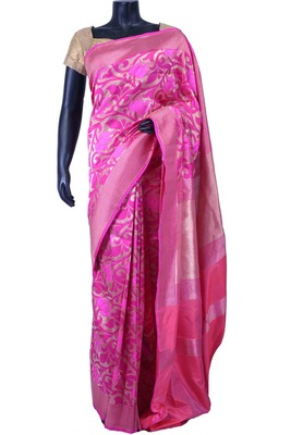 Silver pure silk zari weaved saree in silver pallu & pink saree border-SR5570