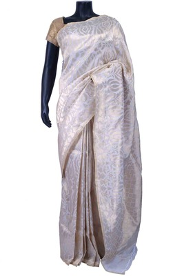 White pur e silk zari weaved saree in white pallu & blouse -SR5573