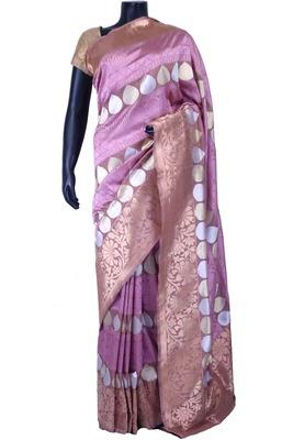 Multi colour pure silk zari weaved saree in brown border & pallu-SR5580