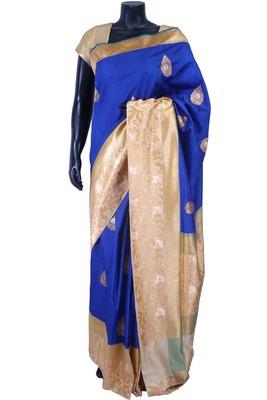 Royal blue pure silk zari weaved saree in golden pallu & border-SR5586