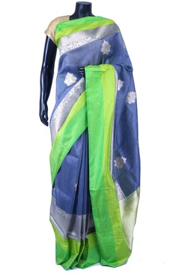 Blue pure silk zari weaved saree in multi colour border & silver pallu-SR5591