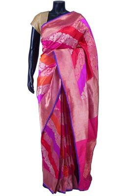 Multi colour pure silk zari weaved saree in rani pink pallu-SR5594