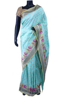 Sky blue pure silk zari weaved saree in multi colour border-SR5595