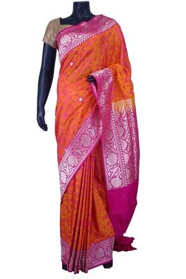 Orange pure silk weaved saree in dark pink zari weaved pallu-SR5596