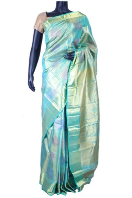 Blue pure silk zari weaved saree in golden pallu & blue blouse-SR5606