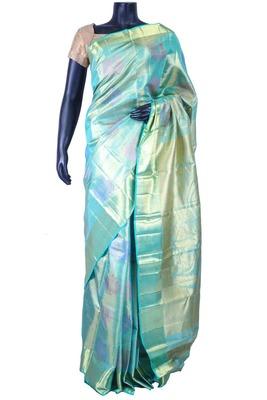 Blue pure silk zari weaved saree in golden pallu & blue blouse-SR5606