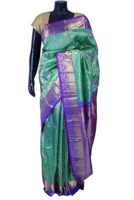 Bright green pure silk zari weaved saree in purple border & pallu-SR5612