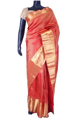 Red pure silk zari weaved saree in golden border & red blouse-SR5613
