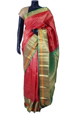 Red pure silk zari weaved saree in green pallu & blouse-SR5615