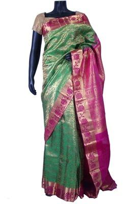 Green pure silk zari weave saree in dark pink palu & pink blouse-SR5619
