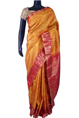 Yellow pure silk zari weaved saree in red zari weaved pallu-SR5623