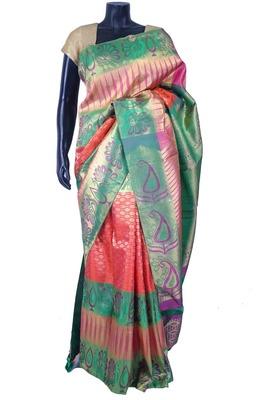 Multi colour pure silk zari weaved saree in multi colour pallu & blouse-SR5632