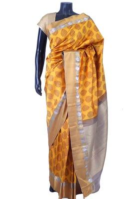 Bright yellow weaved saree in multi colour saree border-SR5635