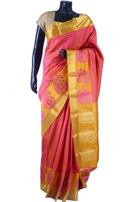 Pink pure silk weaved saree with mustard zari weaved pallu-SR5654