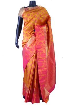 Dark yellow pure silk weaved saree with pink zari weaved pallu-SR5655