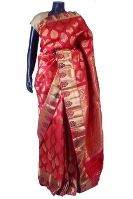 Red pure silk zari weaved saree with red pallu & blouse -SR5658
