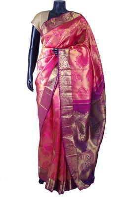 Pink pure silk zari weaved saree in purple pallu & blouse-SR5659