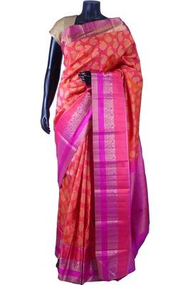 Peachish pink pure silk zari wevaed saree with purple pallu -SR5663