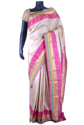 Cream pure silk zari weaved saree with pink pallu & blouse-SR5671