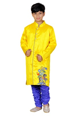 Yellow Embroidered Dupion Silk Kids Boys Indo Western Sherwani Set
