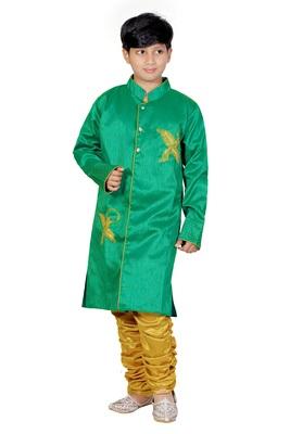 Green Embroidered Dupion Silk Kids Boys Indo Western Sherwani Set