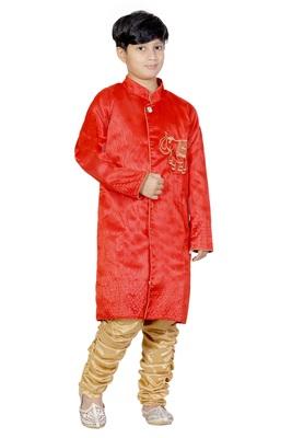 Red Embroidered Dupion Silk Kids Boys Indo Western Sherwani Set
