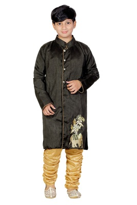 Black Embroidered Dupion Silk Kids Boys Indo Western Sherwani Set