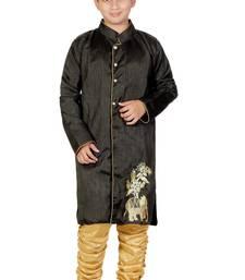 Buy Black Embroidered Dupion Silk Kids Boys Indo Western Sherwani Set boys-sherwani online