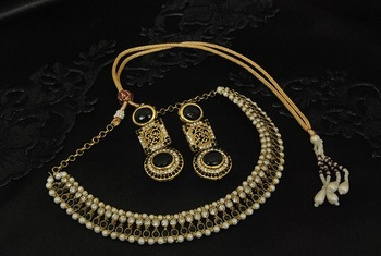 Gold Plated Black colour Necklace with handcrafted Matching Black COLOUR Earrings