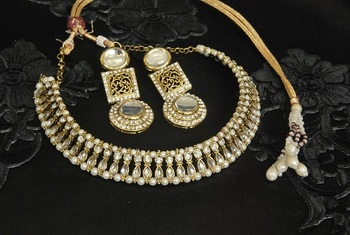 Gold Plated White colour Necklace with handcrafted matching Earrings