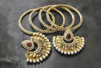 New Ram Leela Maroon & Green Colour Earrings with Gold Plated Bangles 4pcs set