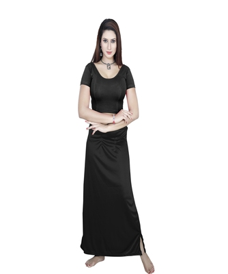 Black Solid stitched blouse with petticoat