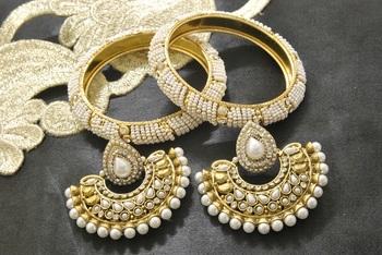 New Ram Leela Pearl Earrings with White colour Bead Bangles set