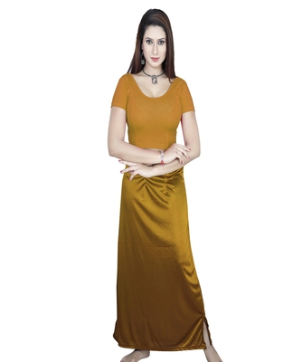 Gold Solid stitched blouse with petticoat