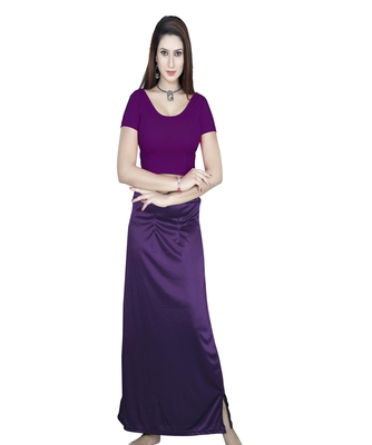 Purple Solid stitched blouse with petticoat