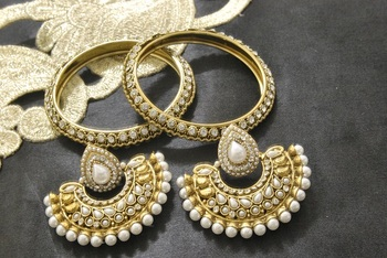 New Ram Leela Pearl Earrings with Gold Plated Bangles & stones