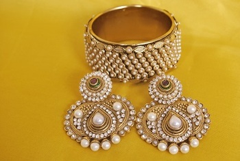 JevantaBai's Traditional parl Earings & Gold Plated Kada
