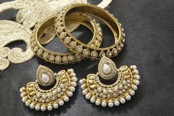 New Ram Leela Pearl Earrings with Gold Plated Stones Bangles